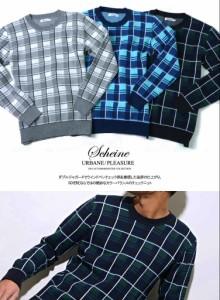 SALE SCHEINE【シャイナ】ウィンドペンチェック ニット /全3色(グレー/ブルー/グリーン) trend_d メンズ ビター系