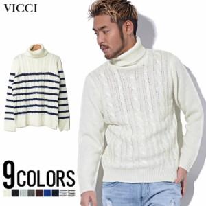 [SALE]VICCI【ビッチ】ケーブル編み タートルネック ニット /全9色 trend_d メンズ ビター系 [POUP]