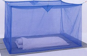 麻混素材 寝室用かや(片麻 ブルー)4.5畳★代引/同梱/返品不可★#07