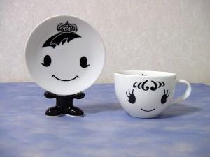 プリンス&プリンセス-マグカップソーサーセット ブラック