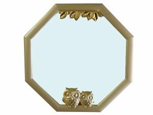 縁起の良いインテリア雑貨 幸福ふくろう八角ミラー 縁起いい八角鏡 SAN1463