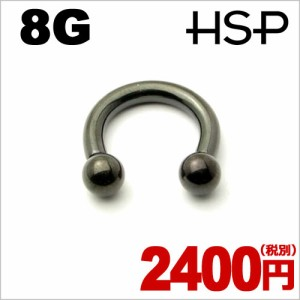 ブラックチタンプレート サーキュラーバーベル 8G【ボディピアス/ボディーピアス】c060