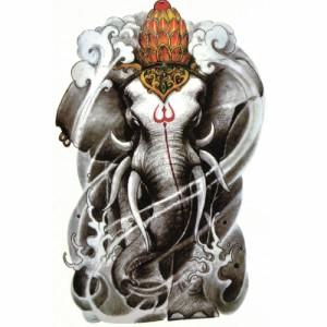 ハロウィン タトゥーシール 六牙の白象【Halloween TATTOO 】大判