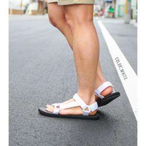 送料無料 ベルクロ スポーツサンダル メンズ ビーチサンダル 黒 白 スポサン おしゃれ 迷彩柄 カモフラ コンフォートサンダル sei202