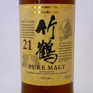 アサヒ  ニッカ ウイスキー 竹鶴 21年 ピュアモルト  700ml 瓶 (箱なし)