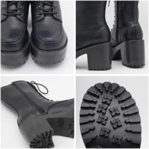 送料無料 厚底ブーツ ロングブーツ レースアップ 美脚 編み上げ ゴスロリ コスプレ ゴツめ 黒 ブラック 白 ホワイト 靴 レディース  女性