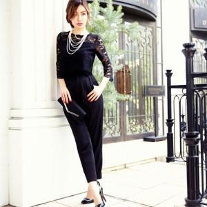 【平子理沙さん着用】パンツドレス 結婚式 パーティードレス パンツ ドレス スーツ パンツスーツ セットアップ パーティー 二次会 レース