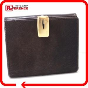 あす着 GUCCI グッチ Wホック財布 二つ折り財布(小銭入れあり) ハラコ/レザー ダークブラウン