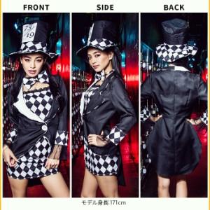 【即納】仮装 クールセクシーマジシャン 4点セット(ワンピース、ジャケット、リボン、帽子)ハロウィン コスプレ