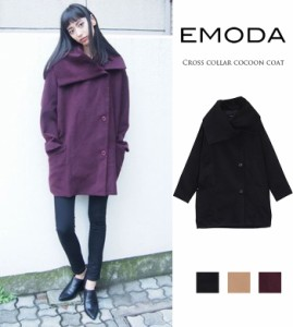 【即納】【SALE】EMODA【エモダ】クロスカラーコクーンCO(コート)/全4色[OUT]コート アウター レディース トレンド