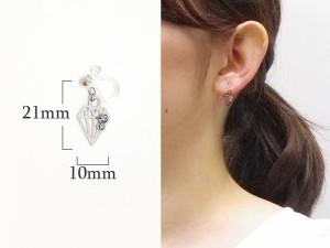 樹脂製 ダイヤモンド透かしに2粒のストーンが輝くノンホールピアス イヤリング イアリング
