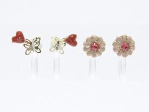 【樹脂製】お花&蝶にキュンとくるハートが可愛いセットノンホールピアス【イヤリング】【イアリング】