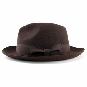 帽子 レディース 中折れハット ウール 羊毛 フェルト ハット 帽体 メンズ 帽子 ハット ブラウン FUJI HAT フジハット