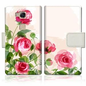 HUAWEI  GR5 手帳型 ケース カバー Huawei gr5 手帳ケース 手帳カバー【薔薇絵画デザイン】