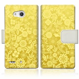 Qua phone PX LGV33 手帳型 ケース カバー lgv33 手帳ケース 手帳カバー【花小鳥Gデザイン】