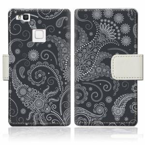 Huawei P9 lite 手帳型 ケース カバー ファーウェイ p9 lite 手帳ケース 手帳カバー【ブラックペイズリーデザイン】