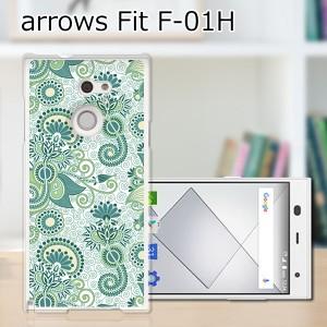 ARROWS Fit F-01H ハードケース/カバー 【グリーンペイズリー PCクリアハードカバー】アローズ f01h スマートフォンカバー