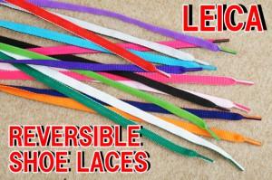メール便可■■ ライカ リバーシブル シューレース 120cm 平紐/ LEICA SHOES LACES フラット ヒモ レースアップ WH×BLK・L.PK×PK・BLK