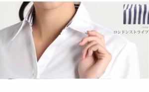 【メール便で送料無料】開襟 シャツ レディース ワイシャツ 長袖 or 七分袖 ブラウス 白 大きいサイズ オフィス /l-23-open【10】