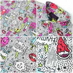 MISHKA ミシカ シャツ メンズ 半袖 総柄 SP141405B ヒップホップ B系 ストリート系 ダンス衣装 オリジナルグラフィック総柄デザイン