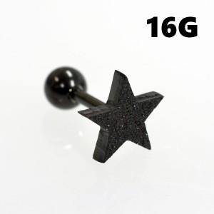 ラメグリッター/ブラックスター ストレートバーベル 【16G】サージカルステンレス (ボディピアス/ボディーピアス/軟骨ピアス/軟骨 ピア