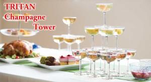【送料無料】 55個セット(5段用)割れない樹脂素材 トライタン シャンパンタワー用グラス