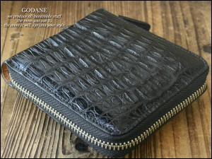 GODANE ゴダン 本革 クロコ クロコダイル ラウンドファスナー メンズ 二つ折り財布 ブラック サイフ MEN'S