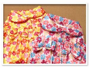 ベビー服 女の子 アウター ジャケット 中綿 シャーリング 花柄 リボン装飾 女児 ベビー 80cm 90cm 95cm【メール便不可】