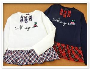 子供服 女の子 トレーナー 長袖 ワッペン装飾 ロゴ刺繍 裾フリル キッズ 【メール便OK】