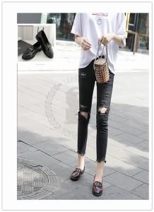 【エルエス】【0315NEW】バックル シューズ/合皮/革靴/ブラック レッド/ローファー/歩きやすい