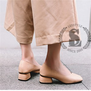 スクエアトゥ チャンキーヒール パンプス 歩きやすい 走れるパンプス ブラック ベージュ キャメル【エルエス】【0713NEW】