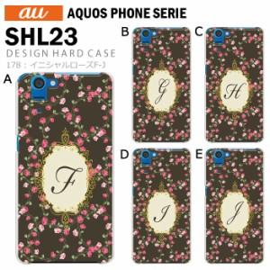 au AQUOS PHONE SERIE SHL23 デザイン スマホケース スマホカバー イニシャルローズF-J かわいい きれい shl23 ケース