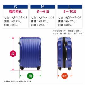【送料無料(沖縄除く)】スーツケース 中 Mサイズ 中型  60L 軽量 TSAロック キャリーケース トランク 旅行かばん 【大型商品】