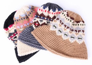 送料無料 ニット帽 レディース あったか 女性用 ニット帽子 着こなし かわいい おしゃれ ハット風 ノルディック柄  大きいサイズ