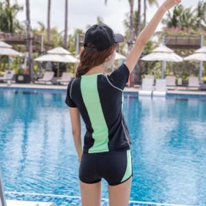 即納 フィットネス 水着 レディース 体型カバー 水着 ラッシュガード 短パン 女性 セパレート 2点セット 大きいサイズ 水着 ママ UV対策