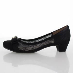 JELLY BEANS ジェリービーンズ 靴 689 パンプス チュール リボン ラウンドトゥ ローヒール 黒 ブラック レディース