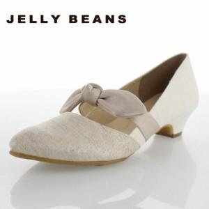 JELLY BEANS ジェリービーンズ 靴 2117 パンプス ローヒール リボン ストラップ 白 アイボリー レディース