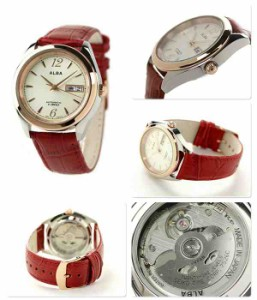 セイコー アルバ 日本製メカモデル レディース 腕時計 AQHA009 SEIKO ALBA 自動巻き クリーム/レッド