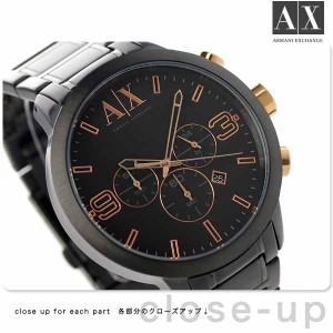 アルマーニ エクスチェンジ クロノグラフ メンズ 腕時計 AX1350 AX ARMANI EXCHANGE ストリート オールブラック×ローズゴールド