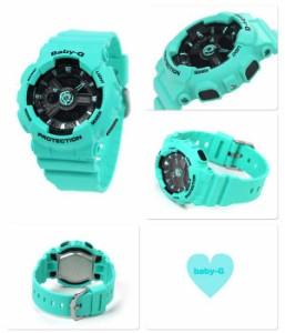 【あす着】Baby-G クオーツ レディース 腕時計 BA-111-3ADR カシオ ベビーG ブラック×グリーン