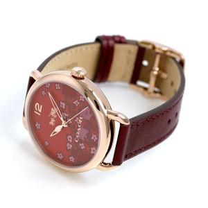 【あす着】コーチ デランシー 36mm 花柄 革ベルト レディース 腕時計 14502730 COACH ワインレッド