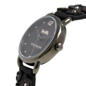 【あす着】コーチ デランシー 28mm 花柄 革ベルト レディース 14502816 COACH 腕時計 ブラック