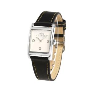 コーチ スクエア 25mm 革ベルト レディース 腕時計 14502830 COACH アイボリー×ブラック