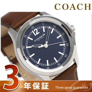【あす着】コーチ ラウンド 42mm 革ベルト メンズ 腕時計 14602064 COACH ネイビー×ブラウン