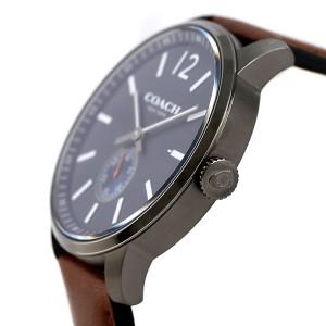 コーチ ブリーカー 46mm スモールセコンド メンズ 腕時計 14602083 COACH ネイビー×ブラウン