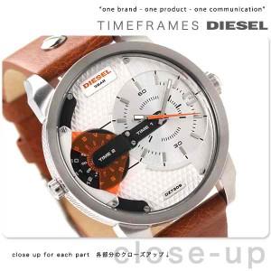 ディーゼル DIESEL ミニ ダディ デュアルタイム メンズ 腕時計 DZ7309 クオーツ シルバー×ブラウン レザーベルト