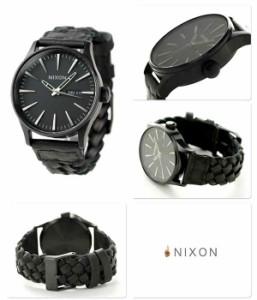 ニクソン nixon セントリーレザー ミディアムサイズ 腕時計 A1051928 クオーツ A105 オールブラック ウーヴン