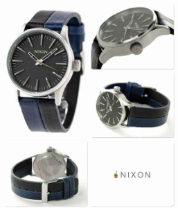 【あす着】ニクソン nixon セントリー 38 レザー 腕時計 クオーツ A3771938 NIXON A377 ブラック/ネイビー/ブラック