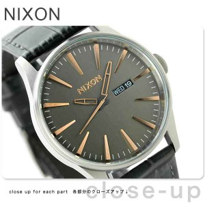 【あす着】ニクソン nixon セントリー レザー ミディアムサイズ 腕時計 A1052145 グレーゲーター