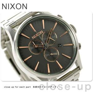 【あす着】ニクソン セントリー クロノグラフ メンズ 腕時計 A3862064 NIXON グレー/ローズ ゴールド